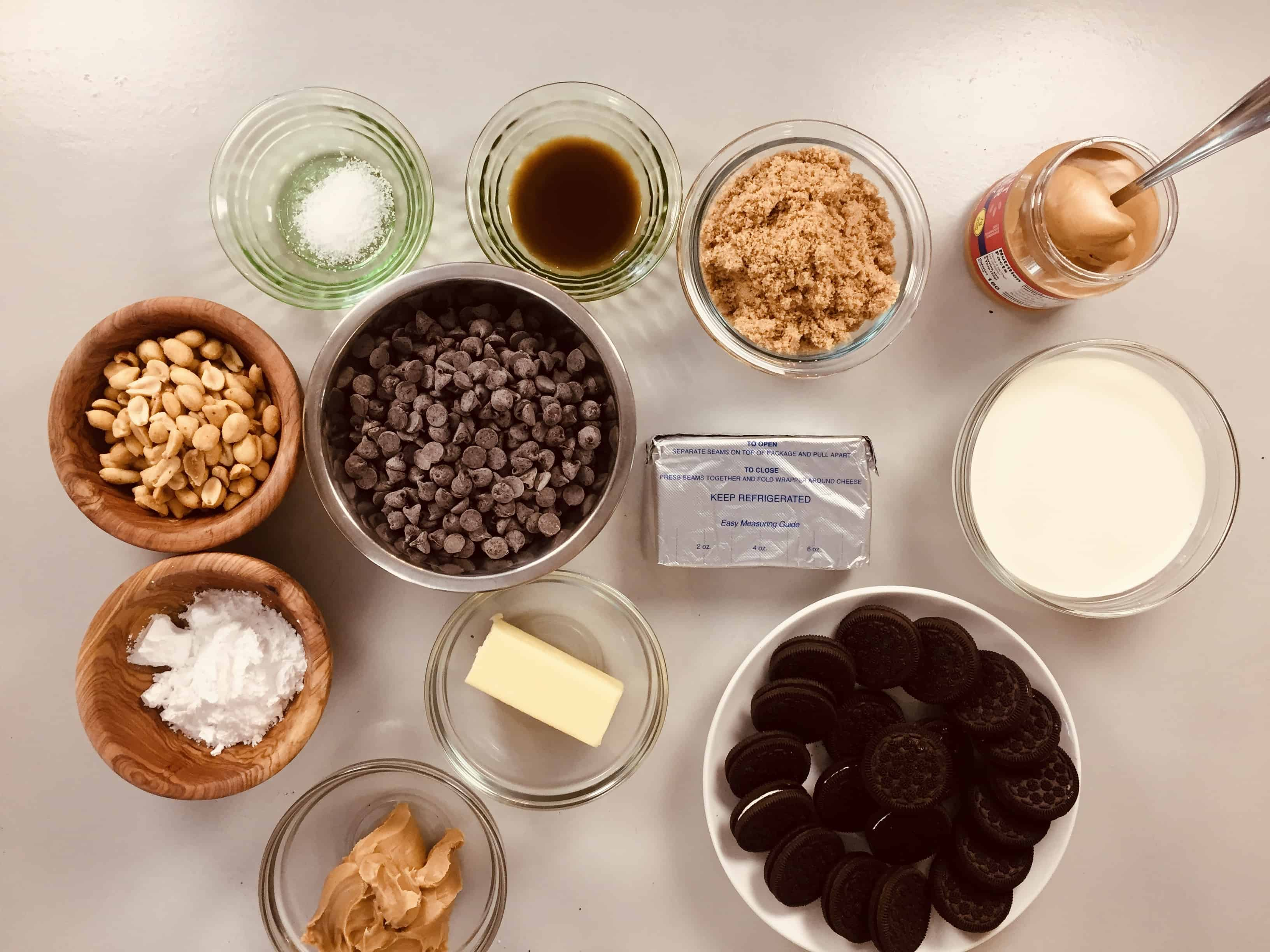 My mis en place for the ultimate chocolate peanut butter pie