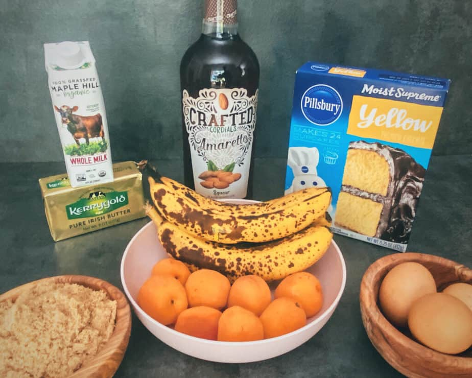 All the ingredients you need to make my Apricot Banana Upside Down Cake