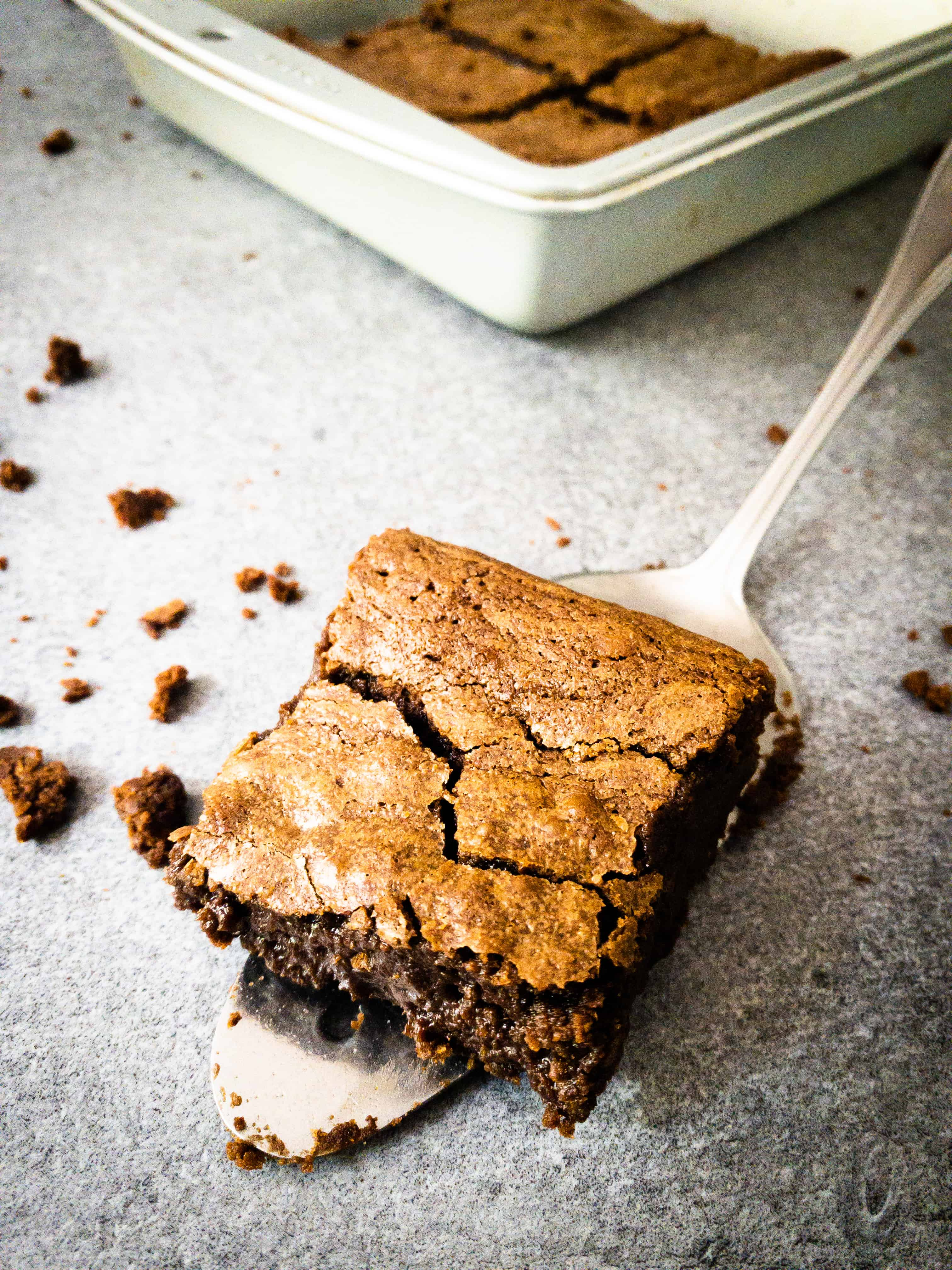 Close up shot of Julia Child's brownies. One is on a serving spatula with the baking tin in the background