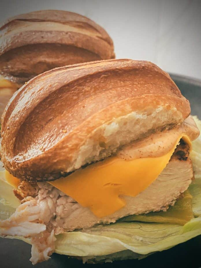 Close up side view of the santa fe chicken sandwich