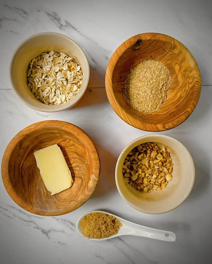 rolled oats, toasted wheat germ, butter, minced pecans and brown sugar as mis en place for crisp topping