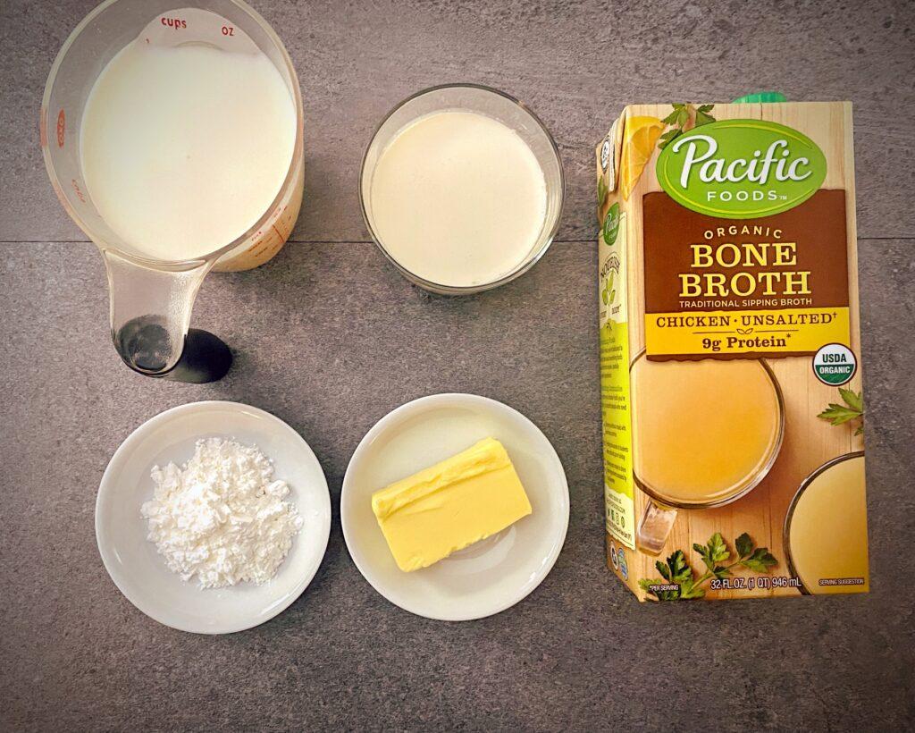 milk, heavy cream, chicken bone broth, butter, cornstarch as mis en place for loaded baked potato soup liquids