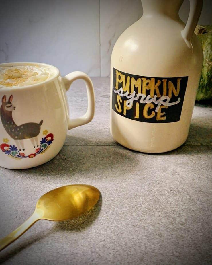 "homemade pumpkin spice latte in a ""no drama llama"" mug"