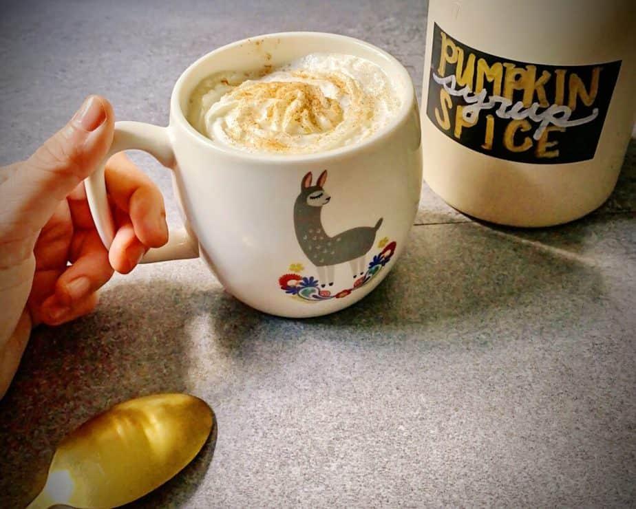 hand holding a homemade pumpkin spice latte in a llama mug