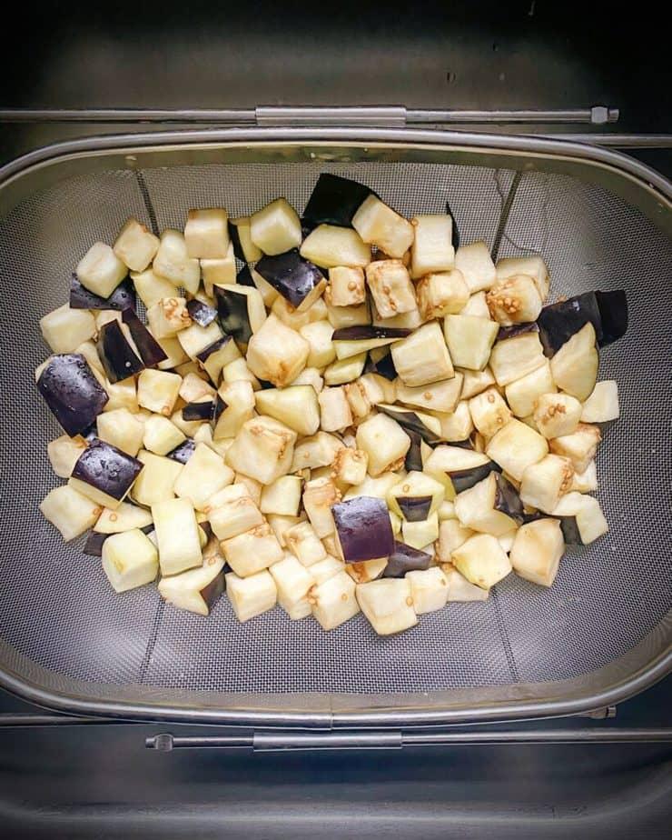 eggplants with salt beginning to release water