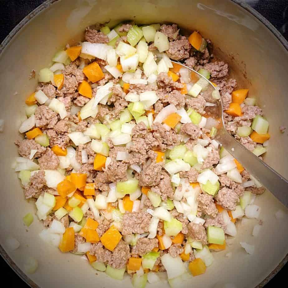 ground lamb with mirepoix after it has cooked down a bit