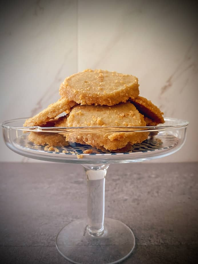 Small cake stand filled with brown sugar brown butter cookies