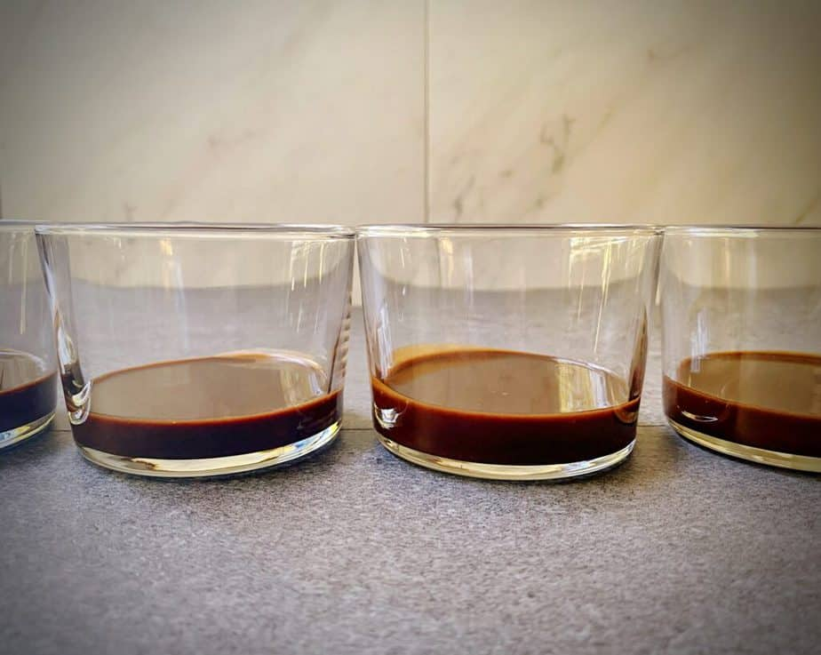 coffee rum fudge in clear glasses for black bottomed banana pudding cups