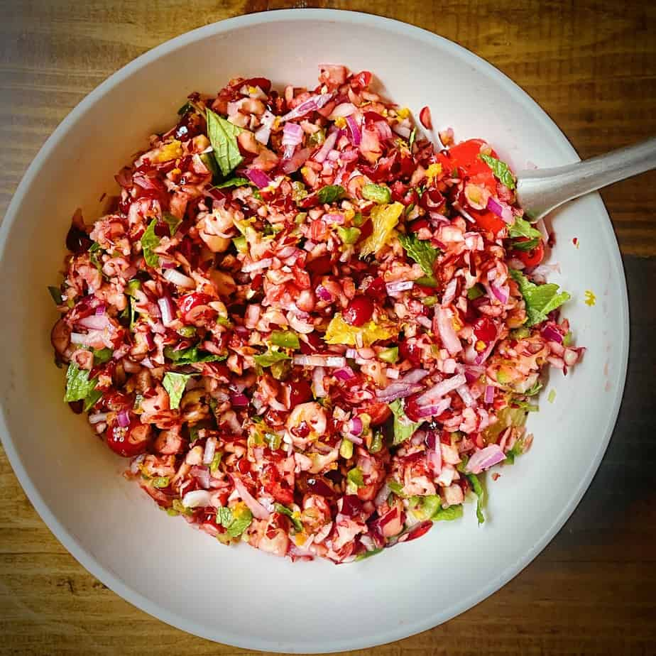cranberry jalapeño relish in a white bowl