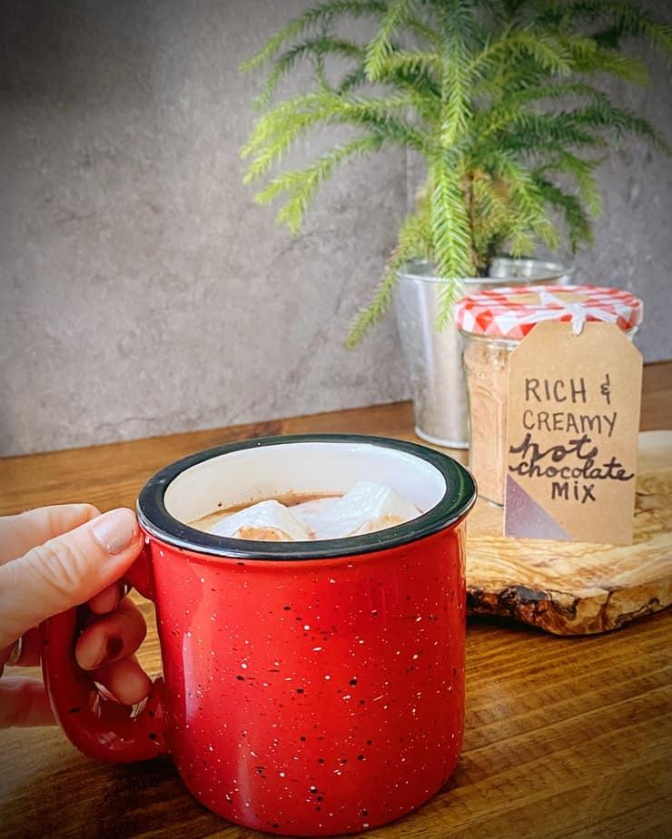 hand holding red enamel mug of hot chocolate with marshmallows