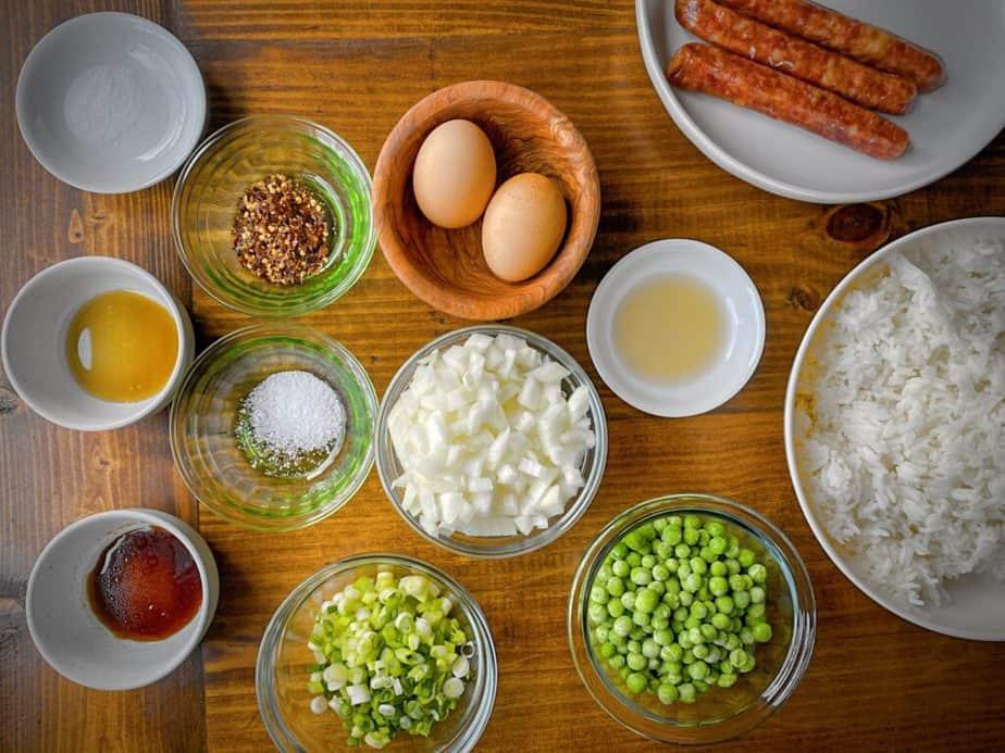 breakfast fried rice mise en place