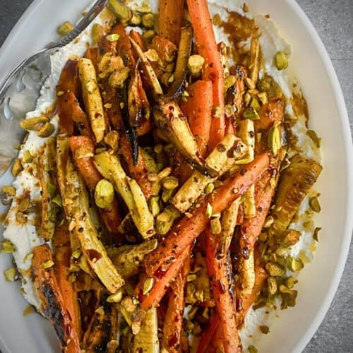 sumac roasted carrots on whipped feta
