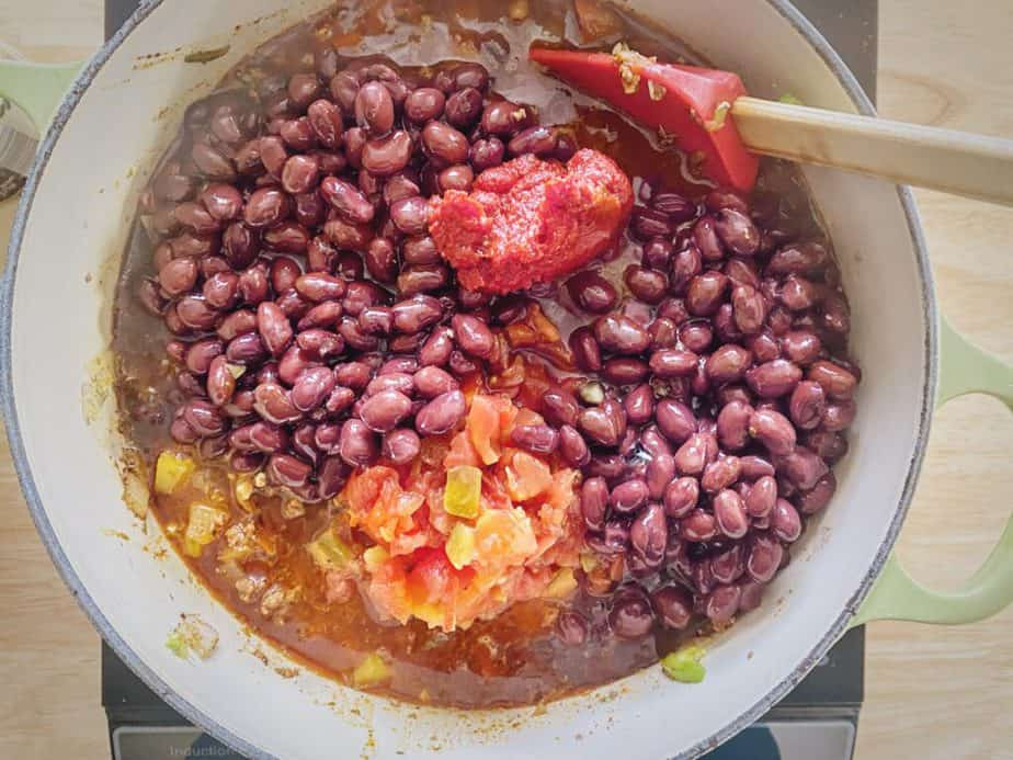 black beans, rotel and tomato paste added to beef chili base