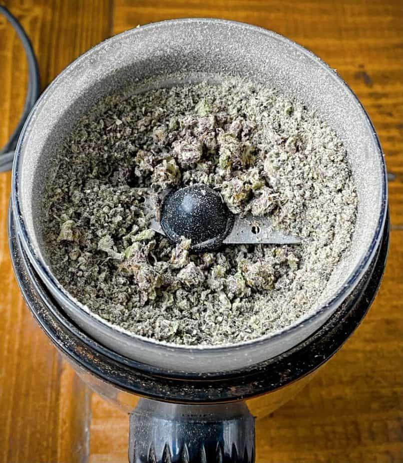 pulverized cbd flower in spice grinder