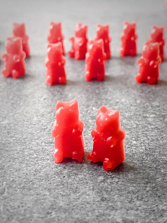 close up of two homemade cbd gummy bears