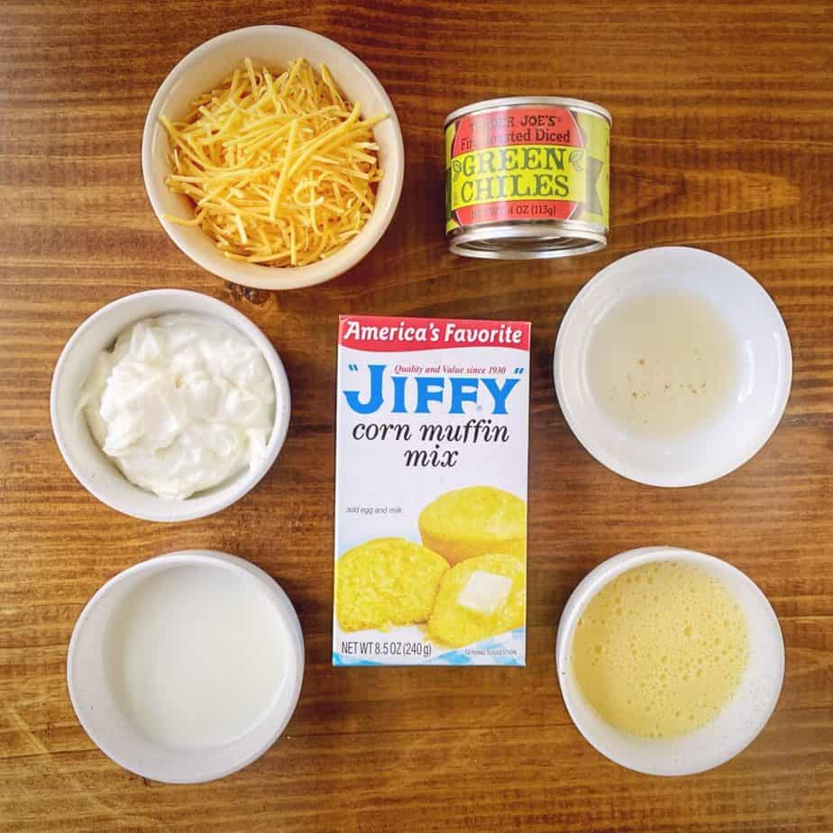 mise en place for jiffy cornbread with cheddar and roasted chiles