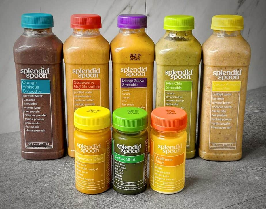 5 smoothies and 3 shots from splendid spoon