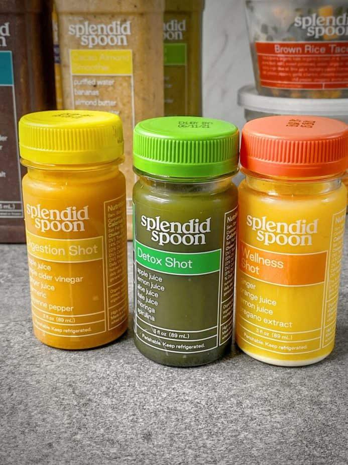 digestion shot, detox shot and wellness shot from splendid spoon