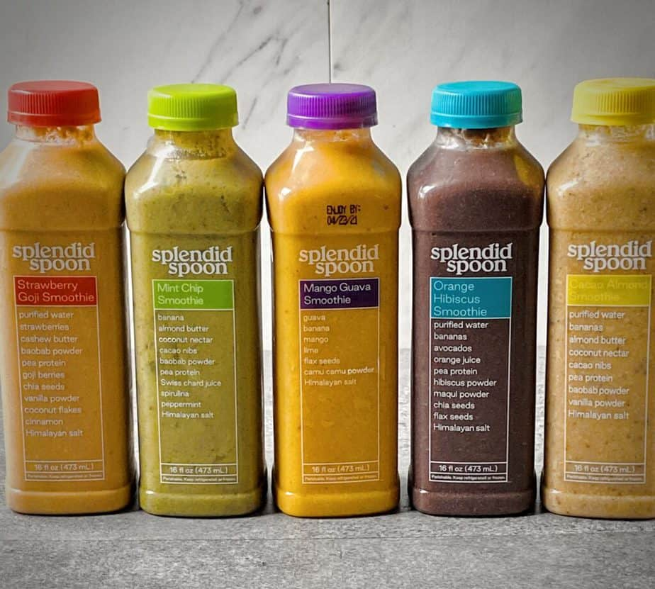 5 smoothies received from splendid spoon delivery