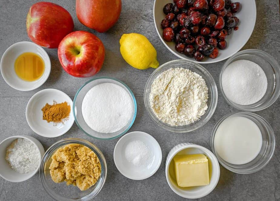 mise en place for apple cherry cobbler using protein pancake mix