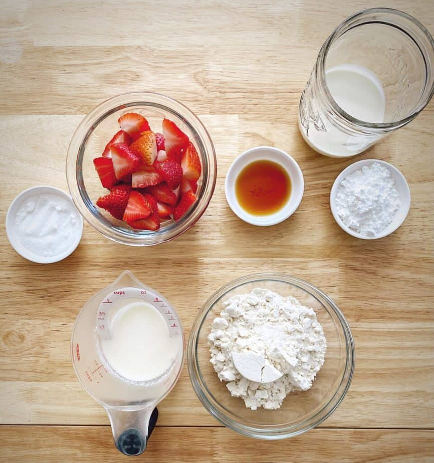 mise en place for easy strawberry shortcake recipe on wooden table