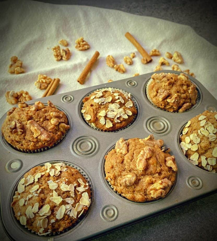 tray of whole wheat banana muffins on a table