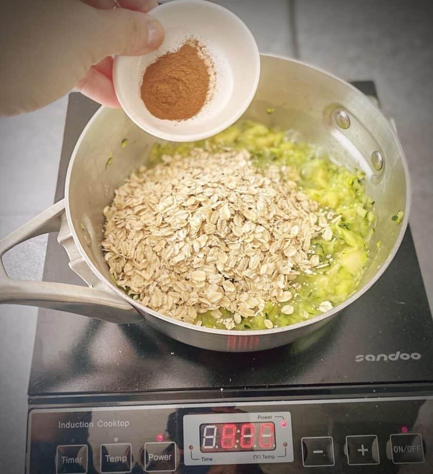 cinnamon added to saucepan