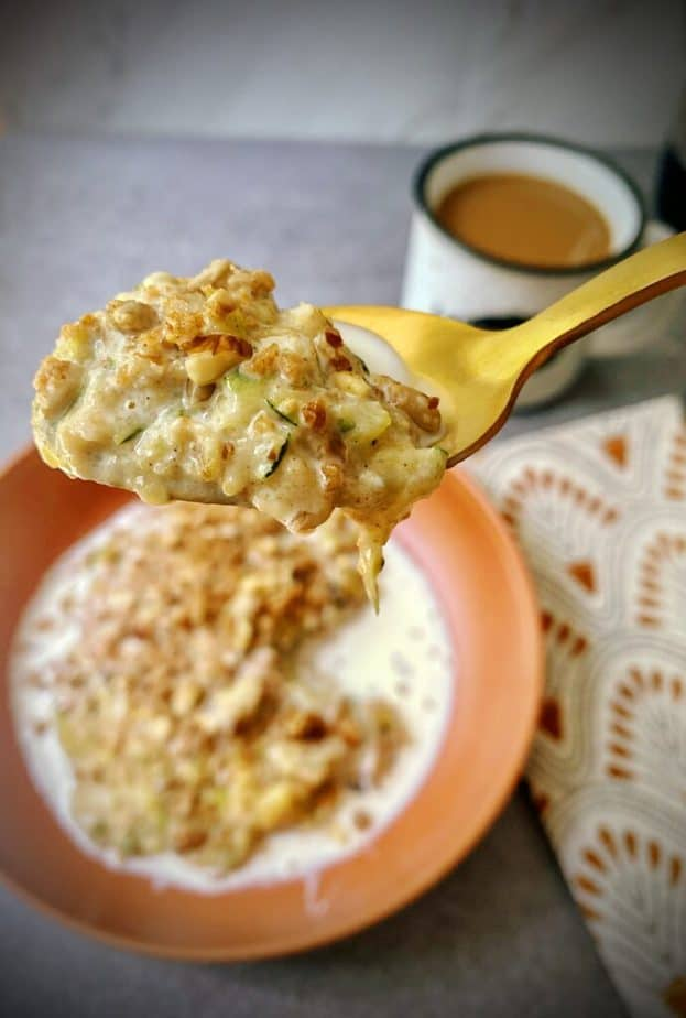 gold spoonful of zucchini bread oatmeal