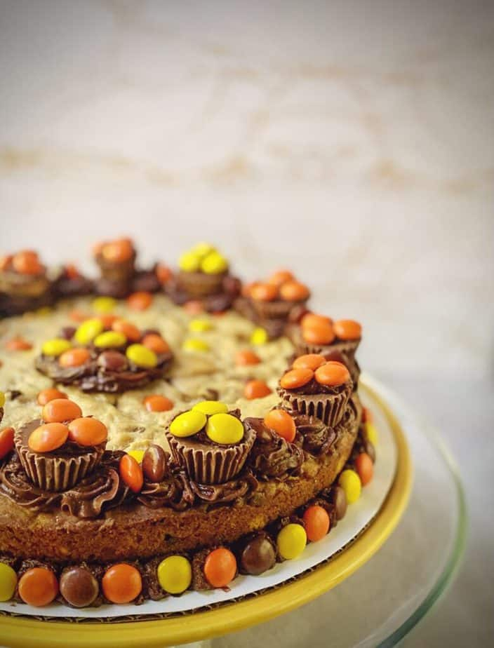 close up shot of finished peanut butter chocolate chip cookie cake