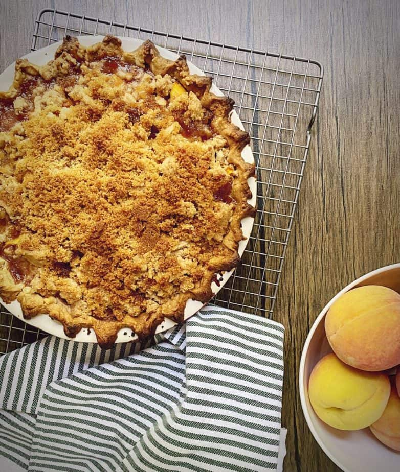 peach pie cooling in the window