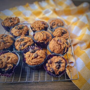 dozen muffins on a cooling rack