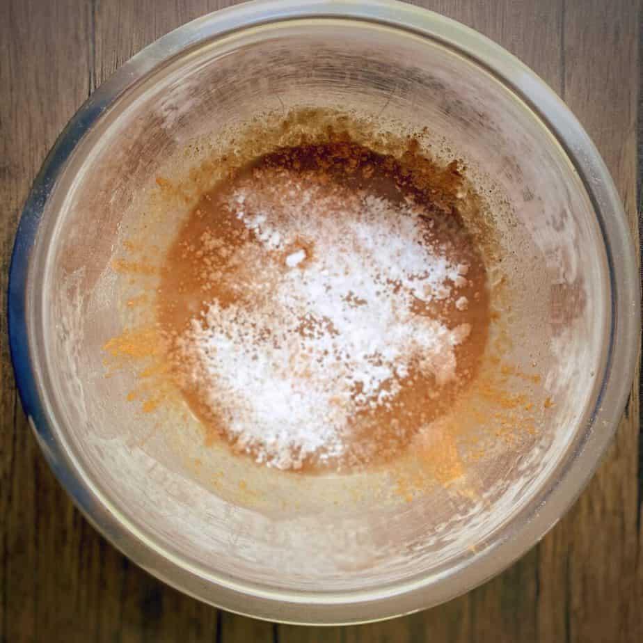 cinnamon, salt, baking powder added to wet ingredients