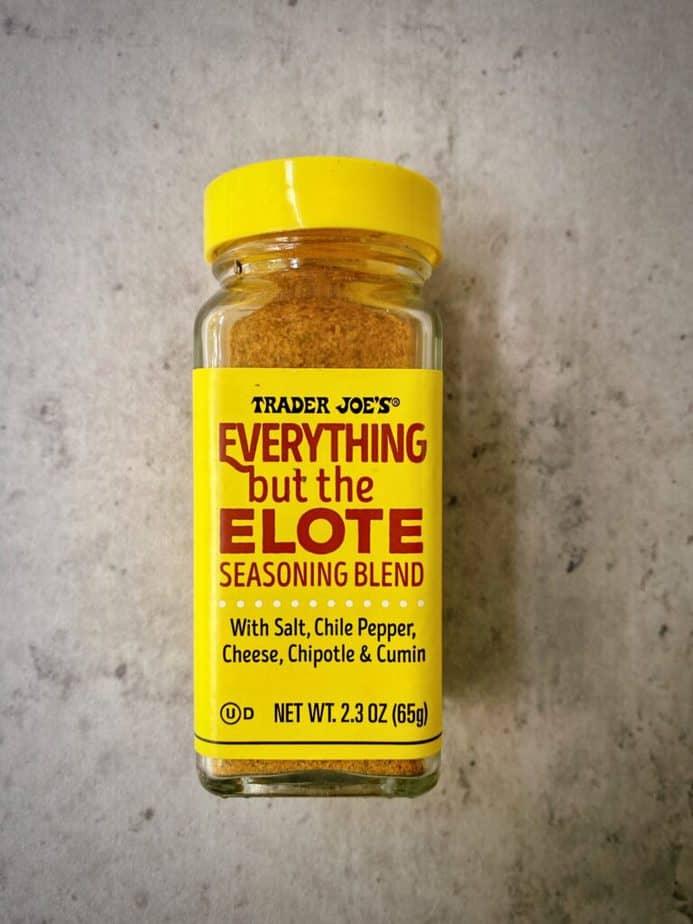 bottle of trader joe's everything but the elote seasoning blend