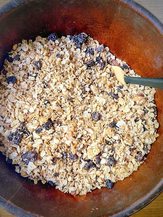 big batch granola in a mixing bowl